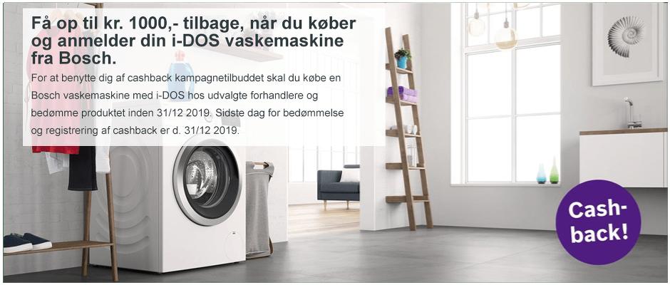 *Hvidevareland er del af Hvidt og Frit indkøbskæden og kan tilbyde CASHBACK på i-DOS vaskemaskiner købt i perioden 1/9 - 30/11 2019